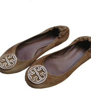 Tory Burch Brown Suede Flats, size 9